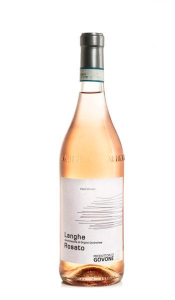 bottiglia di vino rosato con etichietta bianca